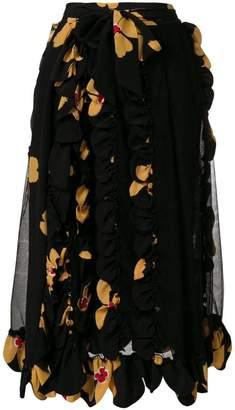 scalloped floral skirt