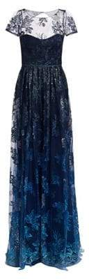 Marchesa Women's Illusion Embroidered Floor-Length Gown - Navy - Size 16