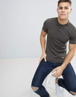 Asos Design DESIGN muscle fit jersey polo in khaki