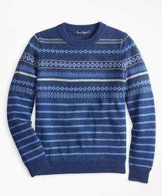 Brooks Brothers Boys Wool-Blend Multi Fair Isle Crewneck Sweater
