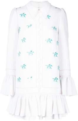 Carolina Herrera horse embroidered mini dress