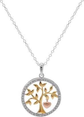 Hallmark Tri-Tone Sterling Silver Cubic Zirconia Tree of Life Pendant