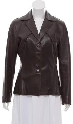 Alberta Ferretti Leather Notched-Lapel Blazer