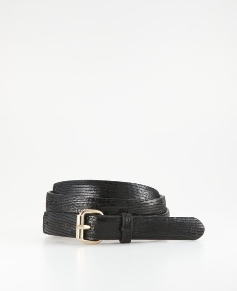 Perfect Exotic Embossed Leather Skinny Belt
