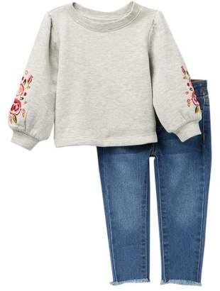 Joe's Jeans Puff Sleeve Top & Denim Set (Baby Girls)