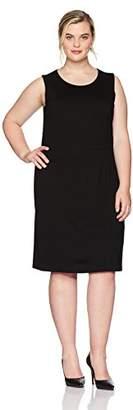 Kasper Women's Plus Size Jewel Neck Solid Sheath Dress