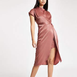 River Island Light pink satin tie waist midi dress
