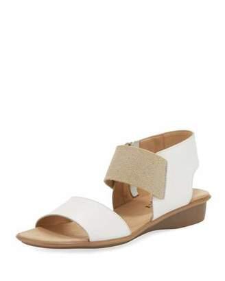 Sesto Meucci Elki Demi-Wedge Leather Sandals, White