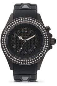Swarovski KYBOE Power Radiant Black Crystal, Black Stainless Steel& White Silicone Strap Watch/40MM