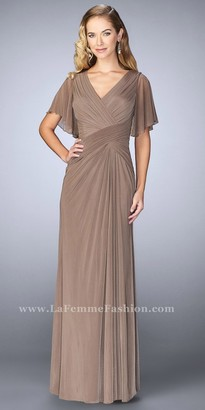 La Femme Draped Flutter Sleeve Ruched Evening Dress $350 thestylecure.com