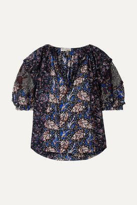 Ulla Johnson Arusi Printed Cotton And Silk-blend Blouse - Blue