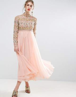 ASOS SALON High Neck Embellished Midi Skater Dress with Long Sleeves $206 thestylecure.com