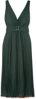 Fendi Plissé Silk Crepe De Chine Gown - Dark green