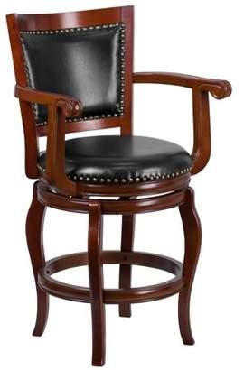 Generic Flash Furniture 26'' High Cherry Wood Counter Height Stool with Black Leather Swivel Seat