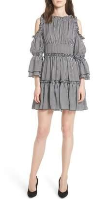 Maje Radise Cold Shoulder Ruffled Minidress