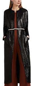Zero Maria Cornejo Women's Koya Lacquered Basket-Weave Coat - Black