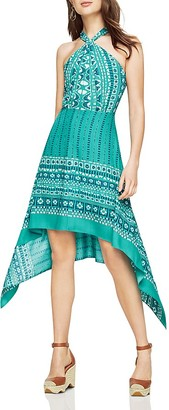 BCBGMAXAZRIA Danela Printed Crossover Halter Dress $298 thestylecure.com