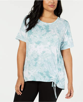 Ideology Plus Size Tie-Dyed Side-Tie Top