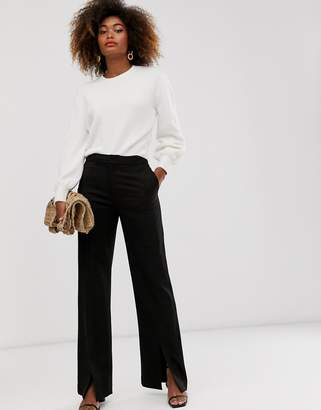 And other stories & tailored pants with front slit in black