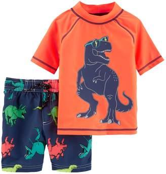 Carter's Baby Boy Dinosaur Rash Guard Top & Swim Shorts Set