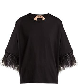 No.21 NO. 21 Feather-trimmed short-sleeve cotton T-shirt