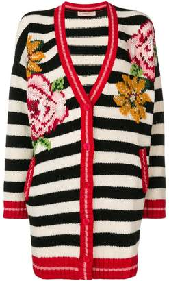 Twin-Set striped floral cardigan