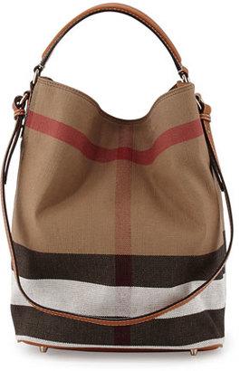 Burberry Ashby Medium Canvas/Calfskin Hobo Bag, Saddle Brown $795 thestylecure.com