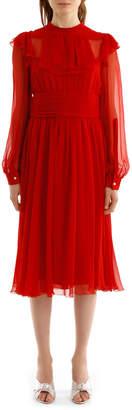 No.21 No. 21 H111 5586 Long Sleeve Frill Bib Plain Dress
