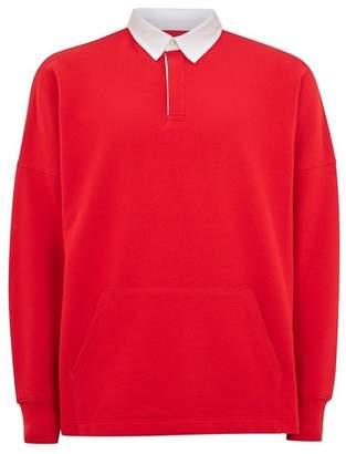 Topman Mens Red Rugby Sweatshirt