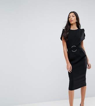Asos Tall Split Sleeve Cap Sleeve Midi Dress with Circle Belt