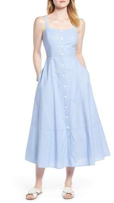 1901 Button Front Chambray Cotton Dress (Regular & Petite)