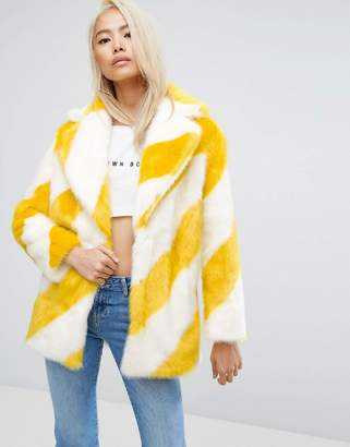 Jakke Mid Length Faux Fur Coat In Stripe