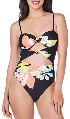 Trina Turk Bouquet Floral Bandeau One Piece Swimsuit