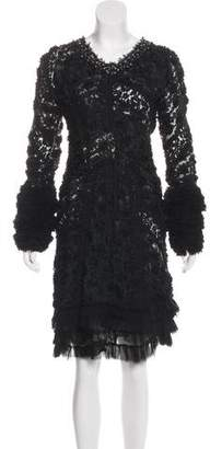 Nina Ricci Rosette-Accented Lace Dress