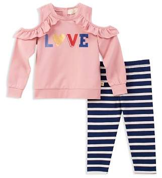 Kate Spade Girls' French Terry Cold-Shoulder Love Sweatshirt & Striped Leggings Set - Little Kid