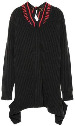 Balenciaga Wool sweater with silk scarf