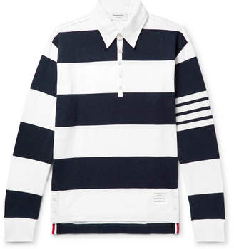 Thom Browne Striped Cotton Rugby Shirt - Midnight blue