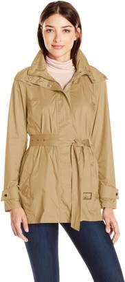 Cole Haan Women's Lightweight Packable Rainwear Coat with Tie Belt and Hood