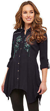 Joe Browns Womens Waterfall Shirt with Embroidery Detail Black 8