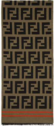 Fendi Brown Logo Scarf