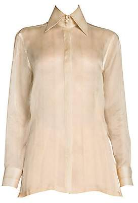 Fendi Women's Embroidered Monogram Feathered Silk Organza Shirt