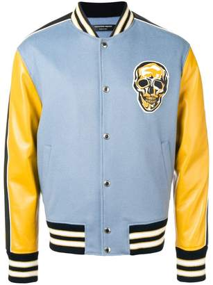 Alexander McQueen skull colour-block bomber jacket