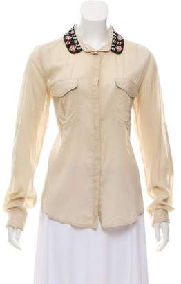 Maison Scotch Embellished Button-Up Top