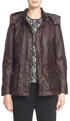 Women's Belstaff 'Tourmaster' Hooded Waxed Cotton Jacket $850 thestylecure.com