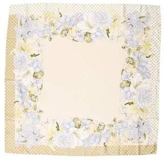 Valentino Floral & Dot Print Silk Scarf