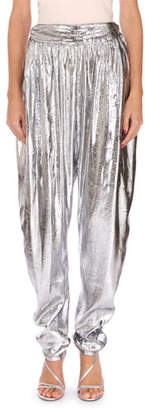 Isabel Marant Kariam Metallic Liquid-Satin Harem Pants