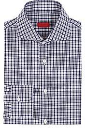Isaia Men's Checked Cotton Poplin Button-Front Shirt-Navy