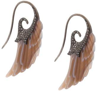 Noor Fares Wing diamond and agate earrings
