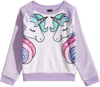 Awake Big Girls Plush Unicorn Sweatshirt
