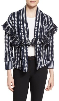 Burberry Prorsum Striped Fringe-Trim Cardigan, Navy $2,095 thestylecure.com